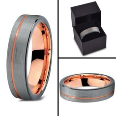 Tungsten Wedding Band Ring 4mm for Men Women Black & 18K Rose Gold Pipe Cut Brushed Polished Lifetime Guarantee