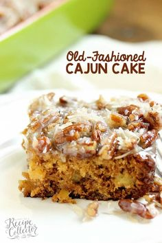 Old-Fashioned Cajun Cake - An EASY cake recipe filled with crushed pineapple and topped with a warm coconut pecan glaze. Old-Fashioned Cajun Cake - An EASY cake recipe filled with crushed pineapple and topped with a warm coconut pecan glaze. Cajun Desserts, Just Desserts, Delicious Desserts, Easy Cake Recipes, Baking Recipes, Dessert Recipes, Cajun Recipes, Haitian Recipes, Donut Recipes