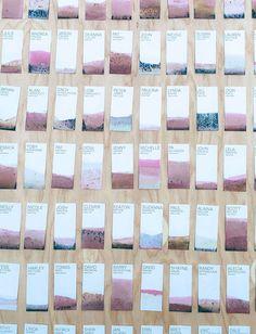dip dyed escort display wedding place cards, sports wedding place cards #wedding #weddings