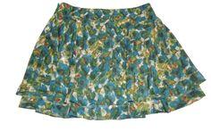TRULLI womens Cute Short Swing Skirt Blue Green Ceam Burgundy Size 14 #Trulli #FullSkirt