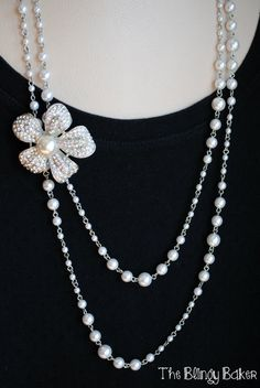 Don't know what to do with that pin that's been in your jewelry box for decades?  Pin it off center on a necklace for a designer look!    Lady Fair & Prissy