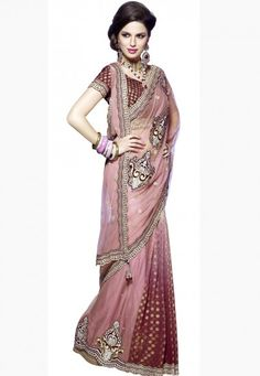 """Click on image to zoom or click to enlarge Light Pink & Shaded Maroon Net & Viscose Designer Saree Designed with Zari, Stone, Dangler, Sequence, Cut Patch Border  INR:-7790 Only (With Discount 25% !! Use Coupon Code """"FLAT 25″ To Avail The Discount)"""