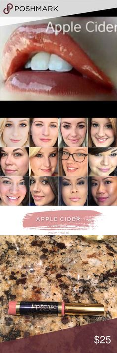 Lipsense APPLE CIDER 18 Hour Lipcolor Brand new, sealed! Hard to find Apple Cider is a gorgeous, sophisticated pink.  The premier product of Senegence, LipSense lasts all day – up to 18 hours. It is water-proof, kiss-proof, smudge-proof, and completely budge-proof. LipSense comes in a variety of captivating colors and can be layered to produce your own custom look.  Must be worn with a Lipsense gloss.Brand new, sealed!  COMMENT BELOW WITH YOUR EMAIL TO GET DISCOUNT INFORMATION, I always sell…