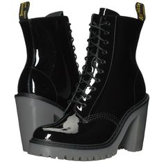 Dr. Martens Kendra 10-Eye Boot (Black Patent Lamper) Women's Boots (89.530 CLP) ❤ liked on Polyvore featuring shoes, boots, ankle boots, laced up boots, dr martens boots, patent leather boots, lace up high heel boots and platform boots