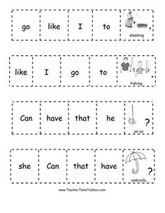Kindergarten Sight Word Practice Cut-and-Glue Sentences