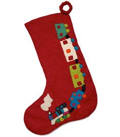 Large handmade red felt stocking . toy train