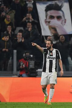 Gonzalo Higuain of Juventus FC celebrates a goal during the Serie A match between Juventus FC and US Citta di Palermo at Juventus Stadium on February 17, 2017 in Turin, Italy.