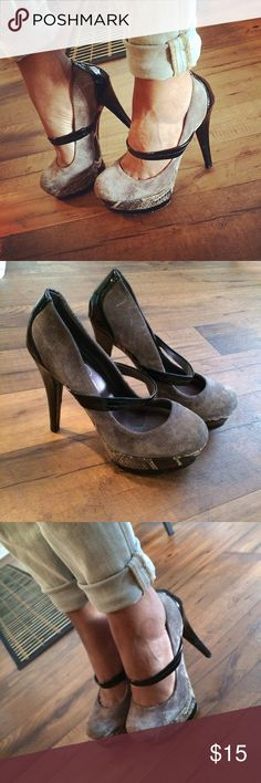 Jessica Simpson Cheetah Cloud Gray Platform Pumps These beauties are perfect for anything from office to date night! A fashionably fierce take on the classic Mary Janes, these pumps feature a center strap, a 5 inch heel and a 1 inch double platform. Jessica Simpson Shoes Platforms