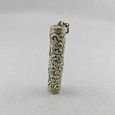 Antique Neddle Case Pendant Jewelry Sewing Notions Jewelry Supplies Craft Supplies Antique Collectible Silver Plated Needle Case