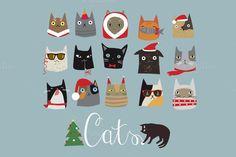 Christmas cats by Darish on Creative Market