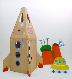 Cardboard Spaceships for fun & Games in Outer-Space themes, Via Play and Grow Cardboard Spaceship, Cardboard Rocket, Cardboard Crafts, Spaceship Craft, Projects For Kids, Diy For Kids, Crafts For Kids, Homemade Toys, Space Theme