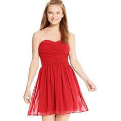 Bcx Juniors' Ruched Sweetheart Dress ($48) ❤ liked on Polyvore featuring dresses, scarlet, red sweetheart dress, sweetheart neckline bridesmaid dresses, gathered dress, bridesmaid dresses and shirred dress