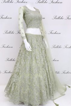Stylish Pastel Green Stone Worked Lehenga Set From Palkhi Fashion Call/ WhatsApp Indian Fashion Dresses, Indian Bridal Outfits, Indian Gowns Dresses, Dress Indian Style, Indian Designer Outfits, Designer Dresses, Indian Wear, Fashion Outfits, Lehenga Designs Simple