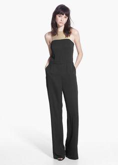 Zweifarbiger, langer overall -  Damen | MANGO
