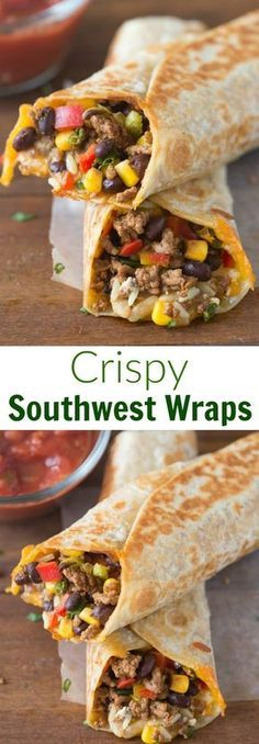 Crispy Southwest Wraps Recipe via Tastes Better From Scratch - These are one of our go-to, easy meals. They take less than and my family loves them! - The BEST 30 Minute Meals Recipes - Easy, Quick and Delicious Family Friendly Lunch and Dinner Ideas I Love Food, Good Food, Yummy Food, Delicious Meals, Cooking Recipes, Healthy Recipes, Cooking Pork, Oven Recipes, Fondue Recipes