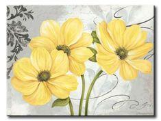 GlA_577_Colori Yellow I / Cuadro Flores Amarillas sobre fondo vintage
