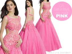 Camille La Vie Beaded Ball Gown Prom Dress with Full Mesh Skirt in HOT PINK