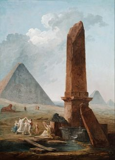 Giclee Print: The Farandole Amidst Egyptian Monuments by Hubert Robert : Ancient Ruins, Ancient Egypt, Old Paintings, Landscape Paintings, Monuments, Architecture Antique, Art Français, Google Art Project, Classical Art
