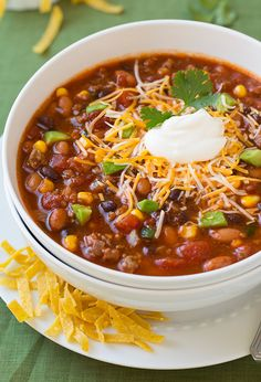 If you like chili you will love this soup! It tastes very similar to chili, but it's more of a loaded chili. It is so hearty and filling and thanks to all @cookingclassy