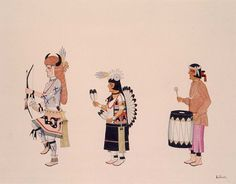Buffalo Dance  ca. 1925-1930 Awa Tsireh Born: San Ildefonso Pueblo, New Mexico Died: San Ildefonso Pueblo, New Mexico watercolor and ink on paperboard sheet: 11 1/4 x 14 1/4 in. (28.5 x 36.2 cm) Smithsonian American Art Museum
