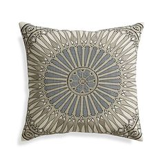 Embroidered accents enhances this pillow's bold, contemporary medallion with rich texture and dimension. Slubby cotton face reverses to solid ivory. Our decorative pillows include your choice of a plush feather-down or lofty down-alternative insert at no extra cost.