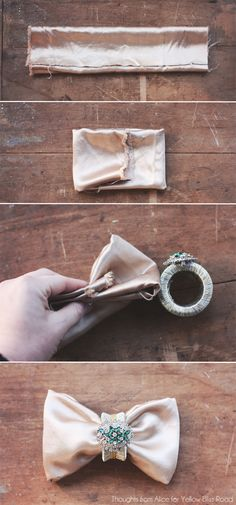 Thoughts from Alice: Upcycled Glam Napkin Rings - how to fold a napkin like a bow tie