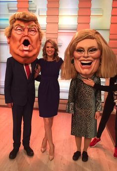 Charlotte Hawkins (@CharlotteHawkns) on Twitter - May 12 2017, We've got some #BigHeads on @GMB this morning.... @itv #DonaldTrump #Adele Gallows Humor, Charlotte Hawkins, Good Morning Britain, Donald Trump, Halloween Face Makeup, Charlottesville, Adele, Foxes, Twitter
