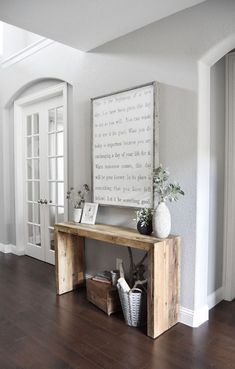 Console Table made from barn board to be used behind sofa in family room. I love the simplicity of it.