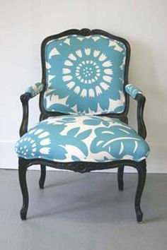 """Custom Made Vintage Fauteuil Chair With Turqoise Sunflower Upholstery  Another fab refinished chair. A classic French Louis XV style fauteuil refreshed with black paint and a bold turquoise and white floral designer fabric. Measures 37"""" high by 32"""" deep by 27"""" wide with a seat height 19 1/2"""" discovered at custommade.com made by Mindi Poston Gay"""