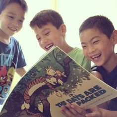unplugging returns us to our childhood self. at rest. present. fully alive. {eric & i broke out our Calvin & Hobbes comics to share them with Josh (middle), Caleb (left) & friend Tyler.} #soulgoodness