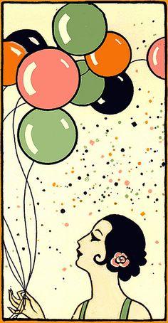 Vintage Deco Flapper Bridge Tally-Balloons!
