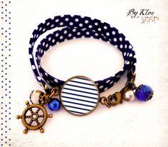 Bracelet ruban Liberty Cabochon • Marinière • marin ancre mer bateau vintage verre : Bracelet par bykloe