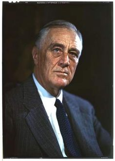 A rare, never before published color photograph of Franklin D. Roosevelt taken in the library at Springwood by Leon A. Perskie on August 22, 1944.