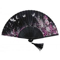 Eventail japonais papillons et fleurs de cerisier