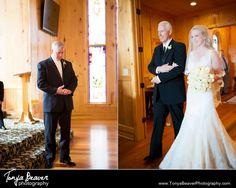 A bride and her father walking toward her future husband!  Honeylake Plantation Wedding Tonya Beaver Photography