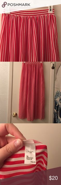 american apparel long skirt sheer this is a long (hits my ankles) american apparel sheer chiffon striped skirt. never worn. would look great w a cropped white tank top and tied on the side to be shorter. fits waist 25-27 best. American Apparel Skirts Maxi