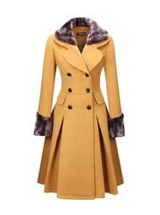 Buy Classical Double Breasted Faux Fur Collar Swing Woolen Coat online with cheap prices and discover fashion Coats at Fashionmia.com.