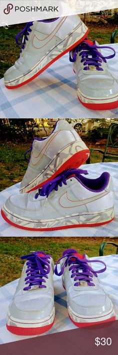 Nike Air Force XXV Sneakers Size 9 grey with little stars(hard to capture).Purple laces and interior.Red soles.previously owned.A few small spots.But still in great condition. Nike Shoes Sneakers