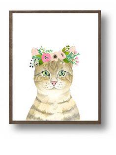 Chats aquarelle. lot de 3 les enfants fleur couronne chats