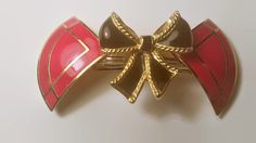 Upcycled Red Gold & Black Bow Barrette on French Clip Repurposed Hair Accessories Recycled Upcycled Vintage Jewelry