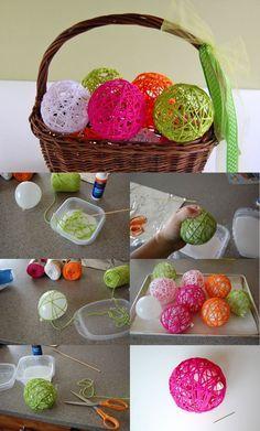 Yarn balls - Diy for Home Decor Kids Crafts, Yarn Crafts, Easter Crafts, Diy And Crafts, Craft Projects, Arts And Crafts, Craft Ideas, Craft Tutorials, School Projects