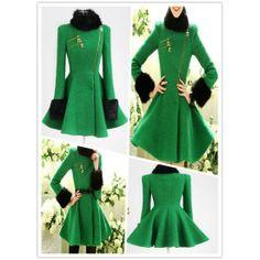 green wool winter coat fur collar golden zip unique coat final clearance ghl0016