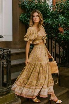 Boho-Overall Riemchen-Hosenanzug Ringelblume in Blau Boho Outfits, Skirt Outfits, Cute Outfits, Fashion Outfits, Womens Fashion, Country Outfits, Maxi Skirt Fashion, Summer Outfits Boho Chic, Country Girls