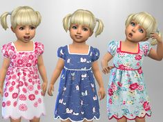 Created By SweetDreamsZzzzz Patterned Toddler Dresses Created for: The Sims 4 Set of 3 patterned toddler dresses for everyday and formal and party wear http://www.thesimsresource.com/downloads/1364206