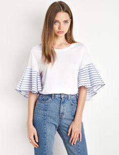 Striped Ruffled Sleeve White Tee #whitetee #ruffledtop #pixiemarket