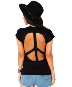 Sakti Cut Out Peace Tee - tops- t-shirts - missguided