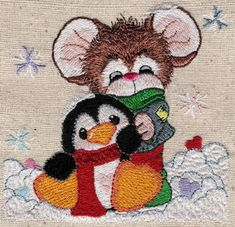 Threadsketches' set Snow in Love - Christmas machine embroidery design, mouse with penguin