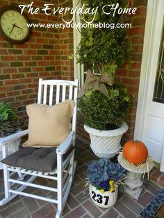 Pumpkin Planter and Address Sign Fall Decor Pumpkin Planter, A Pumpkin, Faux Pumpkins, White Pumpkins, Seasonal Flowers, Seasonal Decor, Fall Projects, Diy Projects, Diy Platform Bed