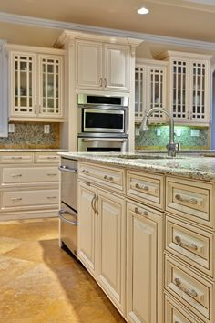 Love these cabinets; the white and brown contrast nicely.