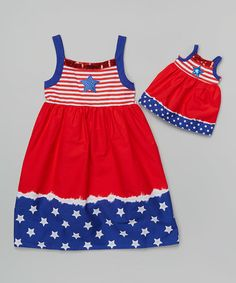 Love this Red & Blue Star Dress & Doll Dress - Girls by Dollie & Me on #zulily! #zulilyfinds